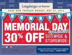 Longaberger at home 30% Off Sale! Now Through Monday, May 27th. 30% Off EVERYTHING!