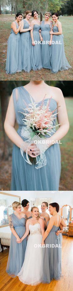 Mismatched Tulle Floor-Length Cheap Backless Long Bridesmaid Dresses, – OkBridal