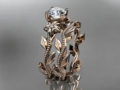 Unique 14kt rose gold diamond floral wedding by anjaysdesigns, $950.00