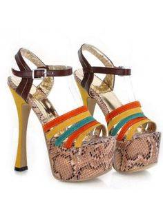 Super High Stiletto Multicolor PU Platform Sandals