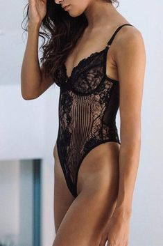 ebb4a0b88e Sexy Black Yummy Scalloped Lace Teddy Lingerie