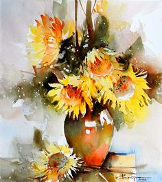 These flowers and that vase, the light.just seemingly so simple. Talented people out there! Watercolor Landscape Tutorial, Watercolor Artists, Watercolor And Ink, Watercolor Paintings, Watercolours, Watercolor Sunflower, Watercolor Flowers, Art Floral, Fleurs Diy