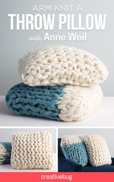 New Arm Knit Throw Pillow class on Creativebug by Anne Weil of Flax & Twine Learn how to make the perfect arm knit throw pillow in this video class. Learn how to arm knit, keep your knitting tight, + finish your pillow beautifully. Vogue Knitting, Knitting Blogs, Knitting Designs, Knitting Projects, Knitting Patterns, Knitting Tutorials, Stitch Patterns, Sewing Projects, Crochet Patterns