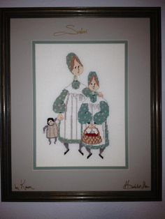 """P. Buckley Moss """"Sisters"""" counted cross stitch"""