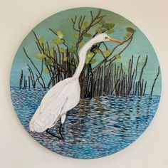 Acrylic Painting with embroidery, appliquéd white cotton egret hunting for fish. The sparkling water is dazzling with beads and a glittery mesh embroidery floss. White Egret, Painting, Art, Art Background, Painting Art, Kunst, Paintings, Performing Arts, Painted Canvas