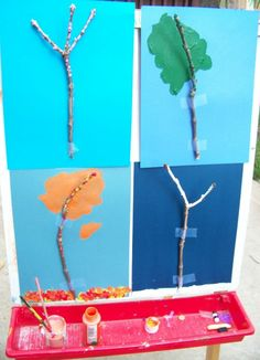 Combining nature & art to learn about how trees change throughout the year -- fun & creative science for kids! Painting For Kids, Art For Kids, Crafts For Kids, Painting Trees, Tree Paintings, Kindergarten Science, Preschool Art, Tree Study, Nature Crafts