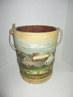 Vintage Wooden Bucket Hand Painted Scene New England Homes