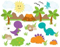 """DINOSAURS WALL MURAL DECALS BABY BOY NURSERY KIDS ROOM VOLCANO STICKERS DECOR measures 33"""" Tall and 42"""" Wide #decampstudios"""
