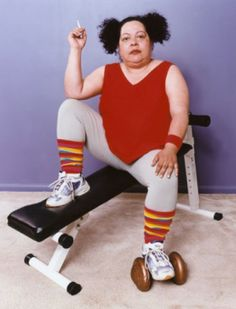 Margo... She's got her workout going on...
