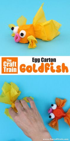 Cute goldfish craft for kids made from an egg carton. This is a fun upcycling id… Cute goldfish craft for kids made from an egg carton. This is a fun upcycling idea, and great for an ocean or pet theme! Animal Crafts For Kids, Toddler Crafts, Preschool Crafts, Diy Crafts For Kids, Projects For Kids, Craft Activities For Kids, Craft Projects, Sea Crafts, Fish Crafts