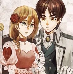 Attack on titan: Eren and Krista<<<<< Ok I hate this ship, it's my ultimate NOTP, but the drawing is pretty, so I pinned it -_-