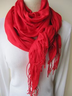 Solid plain red scarf,pomegranate RED scarf viscose lightweight shawl scarf, women's,Men's,long Scarf-Turkish scarves