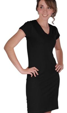 ebe1927d LAT Junior's Topstitch Ribbed V-Neck Collar Dress T-Shirt, Black, Medium