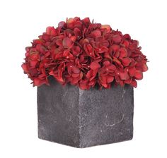 House of Silk Flowers Artificial Home Decor Burgundy Hydrangea in Large Stone Cube *** Click on the image for additional details.