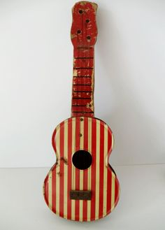 Vintage Childs Toy Guitar - RED and White Striped - Rustic - Primitive - PLAYS. $25.99, via Etsy.