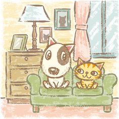 A Bull Terrier and a cat sitting on the sofa. Illustration by Toru Sanogawa