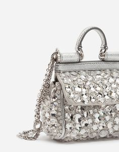 the Fashion Devotion collection.Micro bag from the Sicily line in satin with tone-on-tone mounted crystal embroidery and jewel strap: Cross Body, Silver Outfits, Clutch Mini, Crystal Embroidery, Beautiful Bags, Shoulder Bag, Jewels, Handbags, Women's Bags