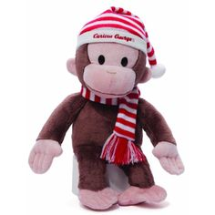 Gund Curious George Plush in Christmas Red and White Striped Hat >>> See this great product. (This is an affiliate link) #Puppets