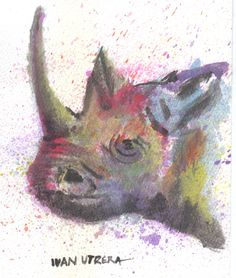 rinoceronte en acuarela