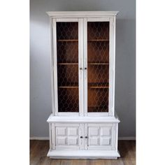 Blue and white painted distressed chippy China cabinet hutch ...