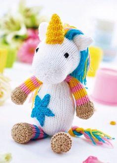 Unicorn Toy & Bootees - Free Knitting Patterns - Animals - Let's Knit Magazine Unicorn Knitting Pattern, Animal Knitting Patterns, Stuffed Animal Patterns, Loom Knitting, Free Knitting, Baby Knitting, Knitting Toys, Sweater Patterns, Unicorn Crafts