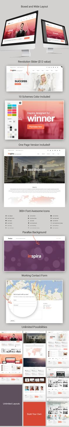 Inspira is multipurpose HTML 5 template with endless possibilities. Inspira help you build beauty and modern website in no time. Powered with Bootstrap framework.  Inspira also responsive, looks ...