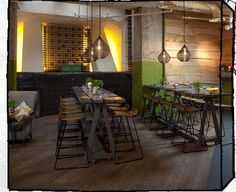 wood floor and communal tables