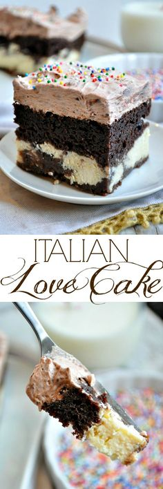 With help from a cake mix, even your kids can make this Easy Chocolate Italian Love Cake! It's a simple yet impressive dessert that everyone loves! # Italian love cake # boxed and upcycled Italian cake Brownie Desserts, Mini Desserts, Easy Desserts, Delicious Desserts, Dessert Recipes, Easy Italian Desserts, Gourmet Desserts, Picnic Recipes, Baking Desserts