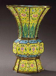 gu shaped Chinese C18th vase, enamel on gilt metal, 20K