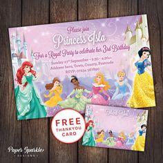 Princess party Princess Invitation Princess by PaperSparkleDesigns