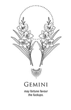 'Gemini – Shitty Horoscopes Book X: Lovers & Losers' Metal Print by musterni – leo constellation tattoo Gemini Zodiac Tattoos, Gemini Art, Zodiac Signs Gemini, Gemini Symbol, Gemini Horoscope, Horoscope Tattoos, Zodiac Quotes, Quotes Quotes, Capricorn Tattoo
