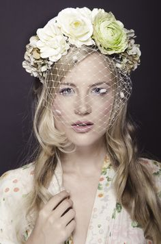 Floral Birdcage Veil. Photo by Chris Bulezuik. But with smaller flowers!