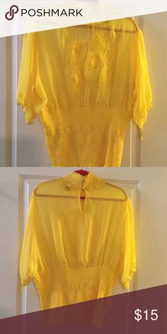 Great Top Sheer blouse with pearl buttons in back. Elastic waistline with flower design on the front. Ashley Stewart Tops Blouses