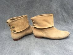 80's Sand Suede Leather Ankle Boots with Back by ElkHugsVintage