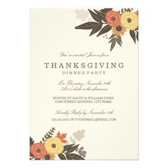 Fall Foliage Thanksgiving Dinner Invitation