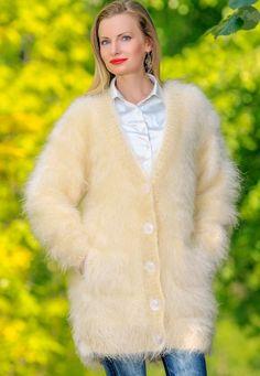 IVORY Hand Knitted Sweater Fuzzy V neck Long Fluffy Mohair Cardigan SUPERTANYA #SuperTanya #BasicCoat