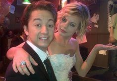 Maxie (Kirsten Storms) and Spinelli (Bradford Anderson) after their non-wedding on General Hospital.