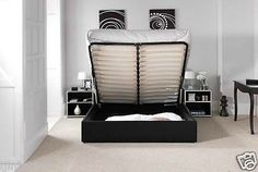 4ft6 5ft standard or ottoman storage #leather bed #black #brown white with mattre,  View more on the LINK: http://www.zeppy.io/product/gb/2/141537585469/