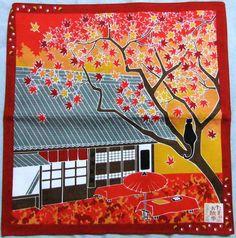 Japanese Wrapping Cloth Small Furoshiki 50x50cm Walkies Cat Maple-leaf Kyoto