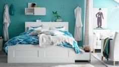 Ikea bedroom idea... pretty paint color