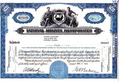 National Airlines, Incorporated FL 1960 Stock Certificate