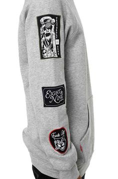 227ba8eba8fb7 8 9 Clothing The Grief Patched Out Crewneck in Heather Crooks And Castles
