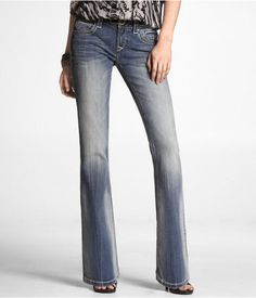 Express Womens Rerock Super Thick Stitch Boot Cut Jean Medium Wash, 00