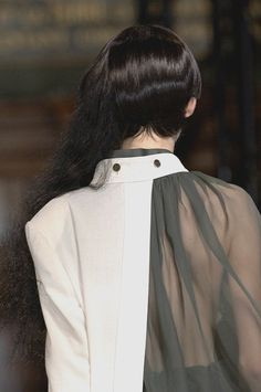 Layered asymmetric blouse with juxtaposition of opaque & structured with sheer shoulder; fashion details // Yohji Yamamoto
