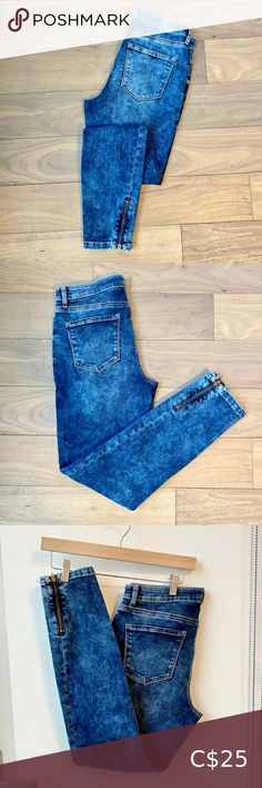 """Acid Wash Skinny Ankle with Side Zipper Excellent condition Size 28 Very stretchy and comfortable Wish these beauties worked for me but I can't pull off an acid washed denim Length is approximately 28"""" - on myself (5'7) they went to my ankle Reitmans Jeans Ankle & Cropped Black Sequin Top, Metallic Dress, Black Sequins, Cargo Jeans, Petite Jeans, Washed Denim, Sequin Sweater, Stella Mccartney Adidas"""