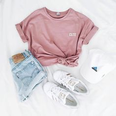 #outfit #tshirt #rose #adidas #white #short #denim #sport #casual #summer #verano #chic #teens