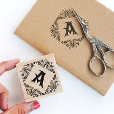 Custom monogram stamp with flower, personalized initial with floral, initial library stamp, monogram botanical stamp, diamond monogram stamp Stamp Pad, Logo Stamp, Business Stamps, Customized Gifts, Personalized Items, Custom Book, Original Gifts, Monogram Frame, Custom Stamps