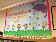 rain or shine, we love spring time Toddler Bulletin Boards, Elementary Bulletin Boards, Spring Bulletin Boards, Classroom Bulletin Boards, Classroom Crafts, Classroom Themes, Sunday School Crafts, School Fun, Daycare Themes