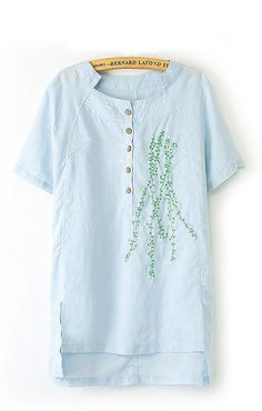 Palest Blue Embroidered Cotton Dress ++