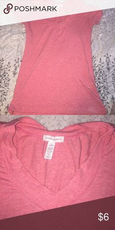 Peachy pink v neck Super comfortable. No rip tears or stains! Super stretchy! Tight fit Ambiance Apparel Tops Tees - Short Sleeve